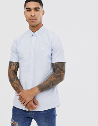 Pretty Green short sleeve oxford shirt in light blue