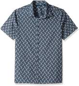 Perry Ellis Men's Big-Tall Big & Tall Short Sleeve Check with Feather Shirt,