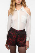 Urban Outfitters Pins and Needles Cold Shoulder Chiffon Blouse