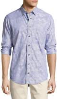 Lenor Romano Floral-Jacquard Cotton Sport Shirt