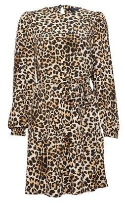 Dorothy Perkins Womens Animal Print Puff Sleeve Fit And Flare Dress