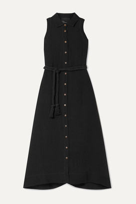 Lisa Marie Fernandez Alison Linen-blend Gauze Midi Dress - Black