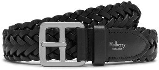 Mulberry 30mm Boho Buckle Braided Belt Black Natural Leather