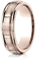 Ice 14K Rose Gold 6mm Comfort-Fit 8 Round Edge Carved Design Band Ring