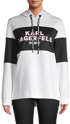 Karl Lagerfeld Paris Logo Colorblock Hoodie