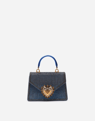 Dolce & Gabbana Small Devotion Bag With Rhinestone Chain