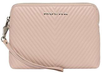 Mocha Chevron Zip Around Leather Clutch - Blush