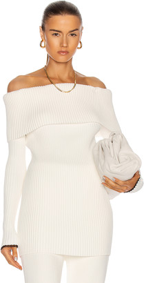Proenza Schouler Off the Shoulder Rib Long Sleeve Top in Off White | FWRD