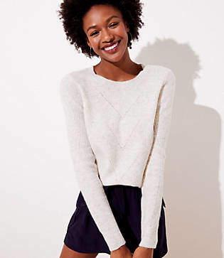 LOFT Petite Pointelle Ribbed Sweater