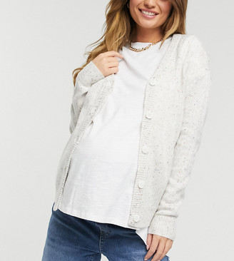 Mama Licious Mamalicious Maternity knitted cardigan in speckled light grey