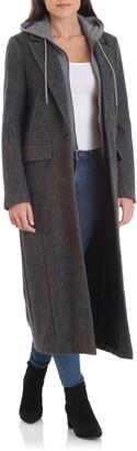 AVEC LES FILLES Moto Wool Blend Coat with Removable Hooded Bib