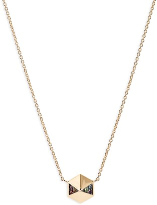 Harwell Godfrey Rainbow Pave Hexagon Pendant Necklace