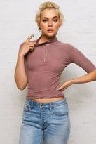 American Eagle Outfitters Don't Ask Why Zip-Up Mock Neck Shirt