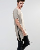 Asos Super Longline T-Shirt In Drape Fabric With Shaped Hem And Taping In Taupe