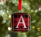 Pottery Barn Plaid Glass Letter Ornaments