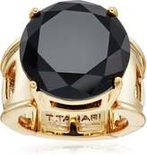 T Tahari Round Jet Ring, Size 7-9