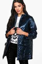 boohoo Jasmine Metallic Quilted Rain Coat navy
