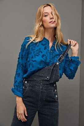 Pilcro And The Letterpress The Whitney Textured Trapeze Buttondown By in Blue Size XS