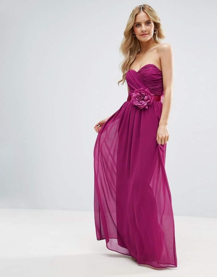 Asos Wedding Chiffon Bandeau Maxi Dress With Corsage