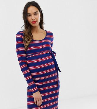 Mama Licious Mama.Licious Mamalicious maternity stripe rib jersey dress-Blue