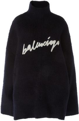 Balenciaga Oversized Embroidered Brushed-Cotton Turtleneck Sweater