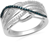 Zales 1/4 CT. T.W. Enhanced Blue and White Diamond Layered Waves Ring in Sterling Silver - Size 7