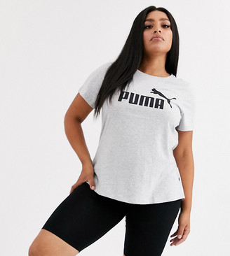 Puma Plus Essentials grey logo tee