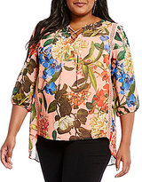 Gibson & Latimer Plus Floral Printed Lace-Up Peasant Blouse
