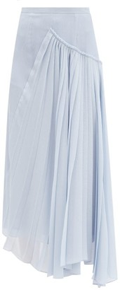 Rochas Asymmetric Plisse Silk-crepe Skirt - Light Blue