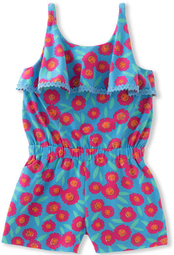 Kate Spade Sleeveless Floral Poplin Romper, Multicolor, Size 7-14