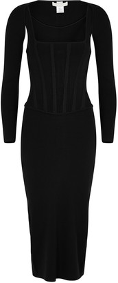 Dion Lee Black corseted jersey midi dress