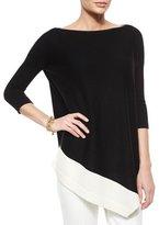St. John Merino Wool Asymmetric-Hem Sweater
