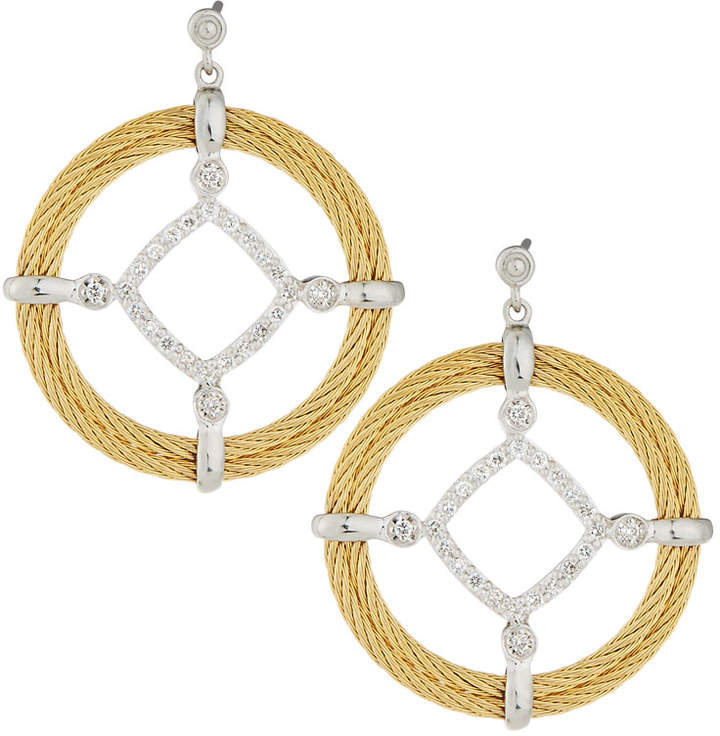 Alor Classique Pave Diamond Circle Drop Earrings, Yellow