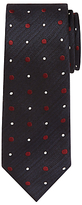 John Lewis Contrast Spot Woven Silk Tie, Navy/Cream/Burgundy