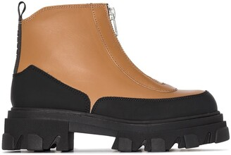 Ganni Zip-Up Ridged Platform Sole Boots