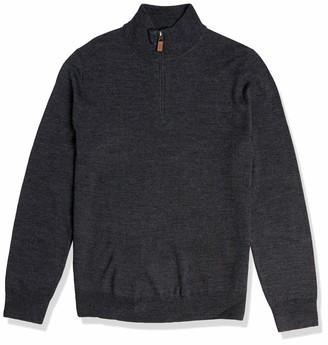Buttoned Down Amazon Brand Men's Italian Merino Wool Midweight Cashwool Quarter-Zip Sweater