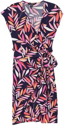 Maggy London Leaf Print Jersey Wrap Dress (Petite)