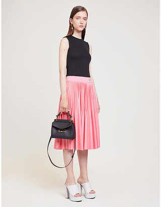 Givenchy Black and Pink Logo-Embroidered Pleated Stretch-Crepe Midi Dress, Size: 6
