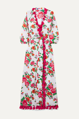 Rhode Resort Lena Tassled Floral-print Cotton-voile Wrap Maxi Dress - White