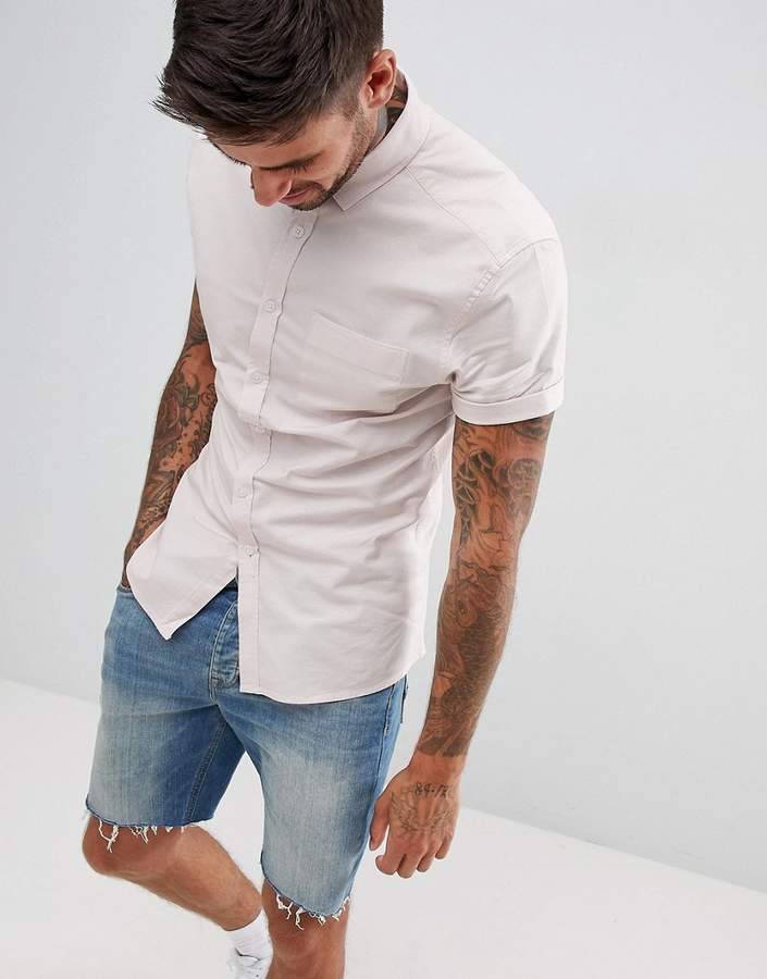 Asos Design DESIGN skinny oxford shirt in pale pink with short sleeves