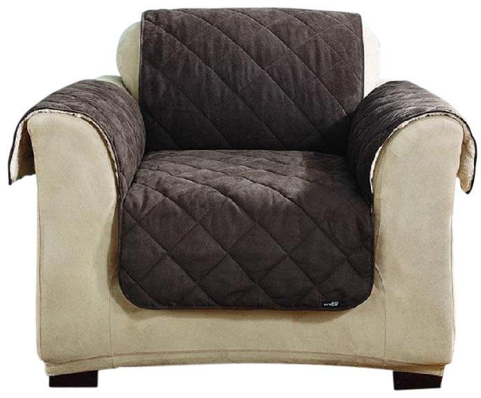 Sure Fit Sherpa/Soft Suede Chair Throw-Chocolate/Cream
