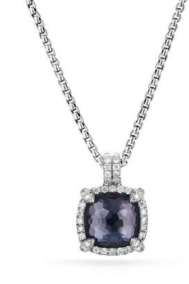 David Yurman Chatelaine Pave Bezel Pendant Necklace with Gemstone & Diamonds/9mm