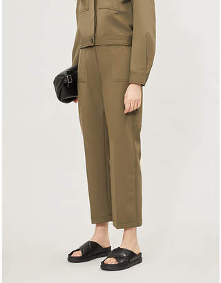 Claudie Pierlot Pablito wide-leg high-rise twill trousers