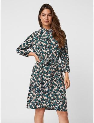 Vero Moda Floral High Neck Dress with Tie-Waist