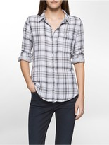 Calvin Klein Lightweight Autumn Plaid Crinkle Shirt