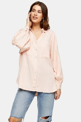 Topshop Womens Pink Cotton Casual Shirt - Pink