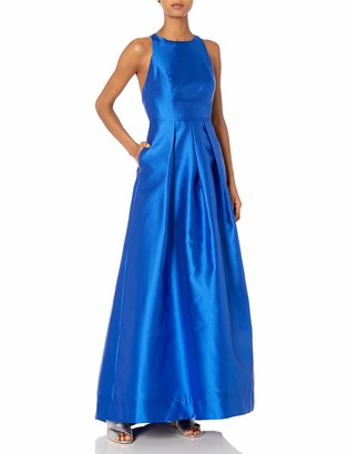 Carmen Marc Valvo Women's Crew Neck Halter Gown W/Open Back Detail