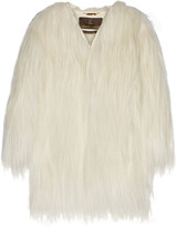 Roberto Cavalli Oversized leather-trimmed goat hair coat