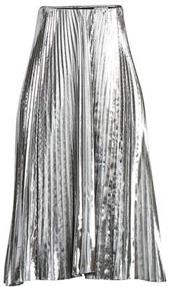 Balenciaga Pleated Metallic Midi Skirt