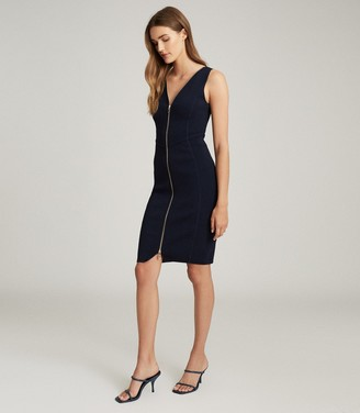 Reiss EVA ZIP DETAILED BODYCON DRESS Navy